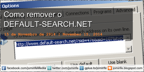 Blog Post: Como remover o DEFAULT-SEARCH.NET How to remove DEFAULT-SEARCH.NET