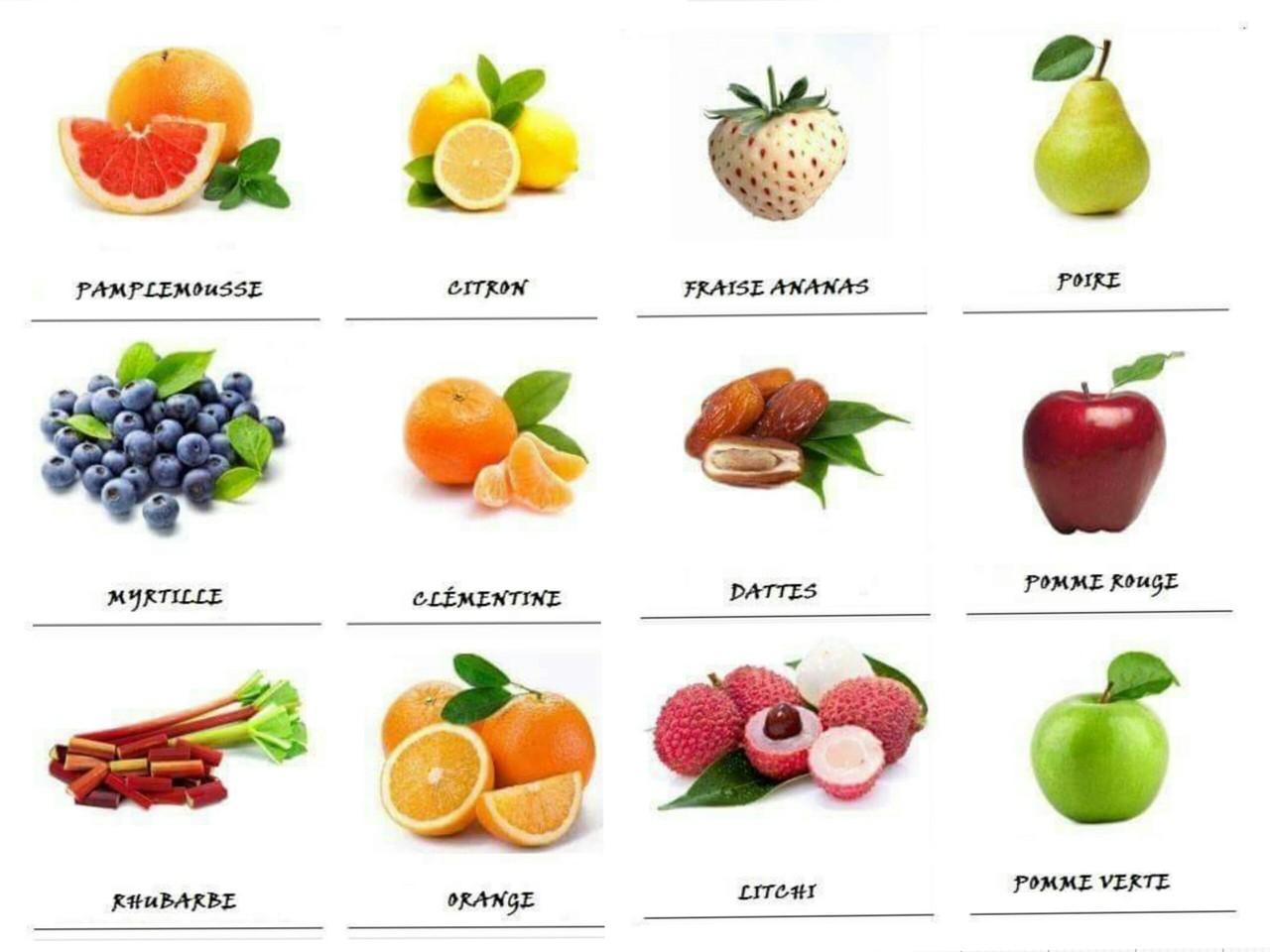 Vamos aprender franc s frutas 4 as nossas voltas for Lista de comida en frances