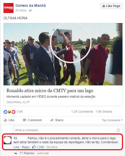 Facebook Ronaldo e o Microfone do CM