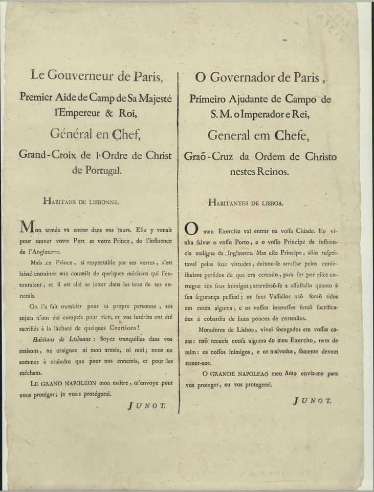 Aviso do General Junot aos habitantes de Lisboa so