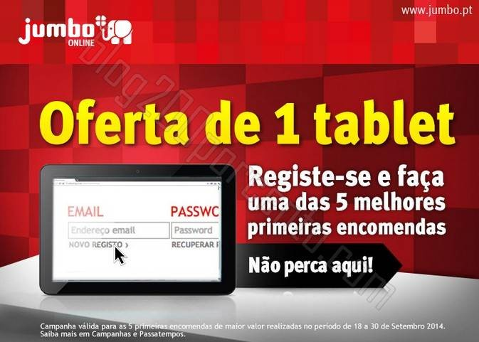Oferta de Tablet JUMBO campanha de 18 a 30 setembro