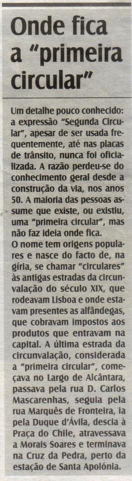 Pedro A. Santos, «Onde fica a 'primeira circular'», in O Diabo, 12/1/16