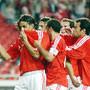 O primeiro golo, marcado por Nuno Gomes