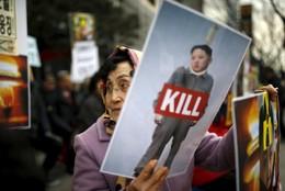 Manifestação anti-Coreia do Norte em Seul