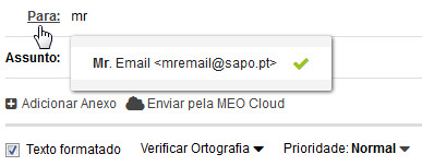 SAPO Mail - autocomplete