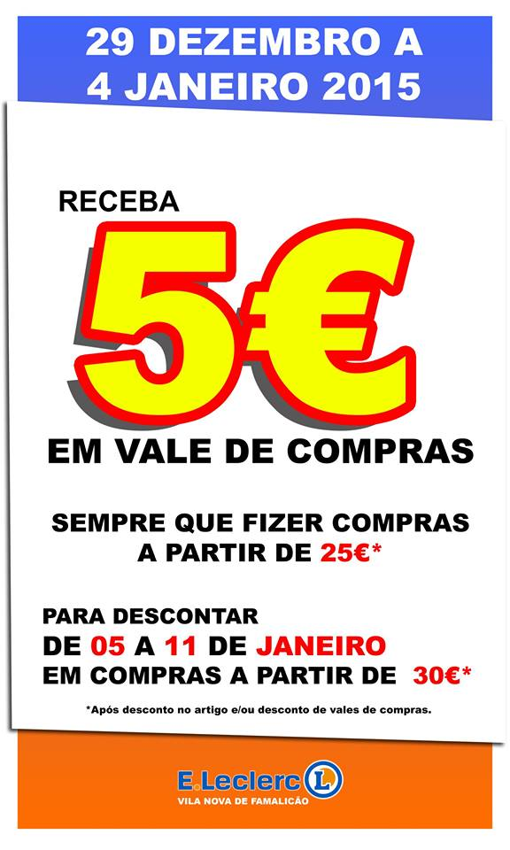 Desconto de 5€ em 25€ de compras E-LECLERC Fam