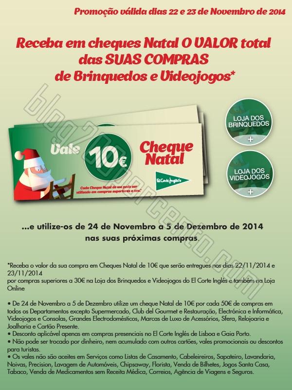 Cheques Natal EL CORTE INGLÉS 10€ por cada 30
