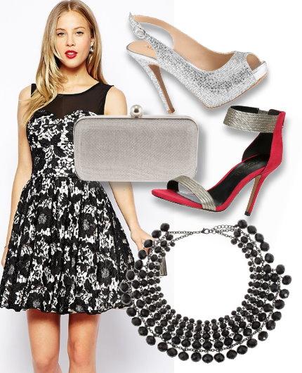 Vestido de renda preto com fundo branco